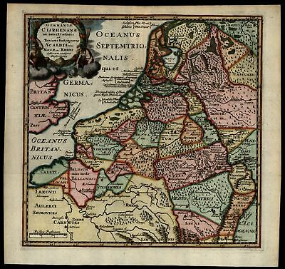 Low Countries Belgium Holland Flanders 1697 decorative antique map