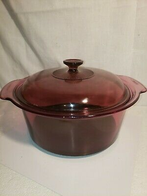 Corning Ware Cranberry Glass Visions 5 L Dutch Oven Pot - Very Good Condition