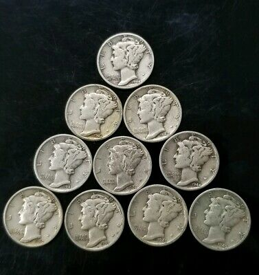 1940's Mercury Dimes Lot of 10 - 90% Silver - US Coins [SC8154]