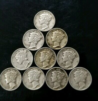 1940's Mercury Dimes Lot of 10 - 90% Silver - US Coins [SC8156]
