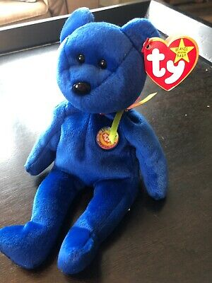 092d455fc1d RARE   ERRORS TY BEANIE BABY  Blue CLUBBY WITH RED STAR ON TUSH TAG ...