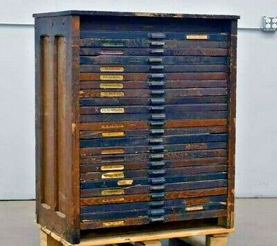 Vintage Hamilton Printers Type Case Cabinet 24 Drawers