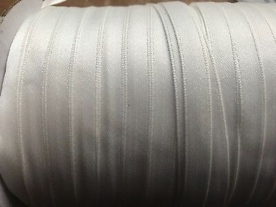 WHITE Double Sided satin edged RIBBON 8mm width x 10 metres