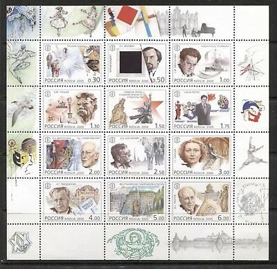 RUSSIA 2000, NATIONAL CULTURAL MILESTONES - 20TH CENTURY, Scott 6606 SHEET, MNH
