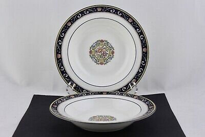 Set Of 2 Wedgwood Fine Bone China W4472 Runnymede Blue Rim Soup Bowls - Mint