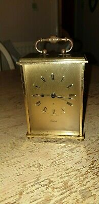 Vintage Swiza Heavy Brass Carriage Alarm Clock With Key & Working