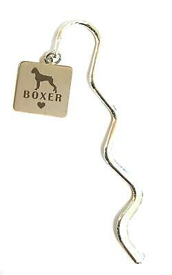 Boxer Dog Puppy Stainless Steel Charm Mini Bookmark in Gift Bag