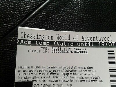 Free Entry Ticket To Chessington World Of Adventures,valid Until July 2019