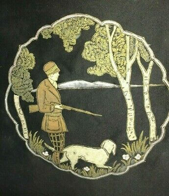 Antique Painted Pillow Cover Huntress W/dog Birch Trees Black, Unfinished, Rare