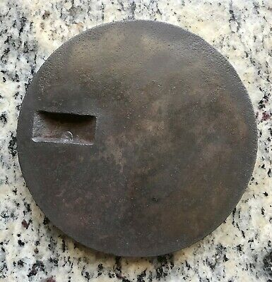 Antique Vintage Cast Iron Wood Stove Top Burner Cover Plate - Dated 1885