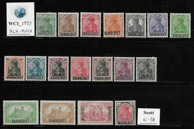 WC1_1593 GERMANY. SAAR. 1920  SAARGEBIET set. Scott 41-58. MLH-MVLH