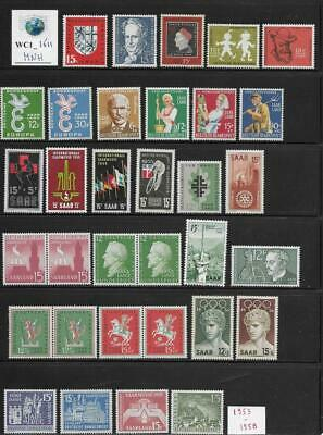 WC1_1611 GERMANY. SAAR. Useful lot of 1953-1958 stamps. MNH