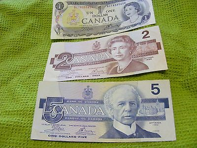 Set of 3 VF Canada  crisp banknotes..($1-1973)..(2-1986)..($5-1986).