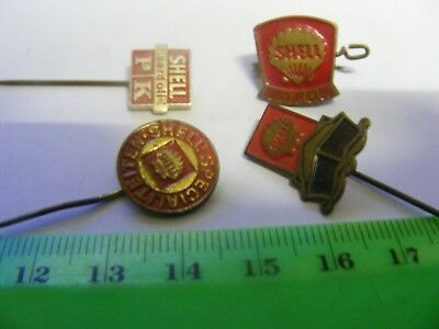 Lot of 4 SHELL Fuel Company vintage pin badges,.....1960s.