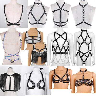 Women's Faux Leather Goth Cage Bra Body Chest Harness Cross Crop Straps Lingerie