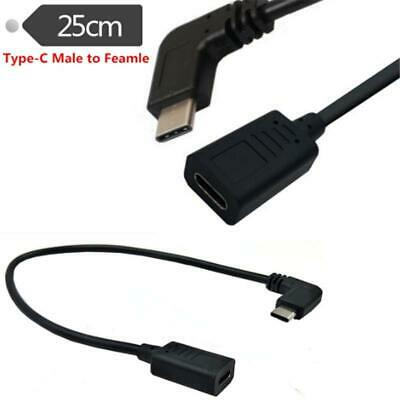 90 Degree Type-c USB 3.1 Male to USB-C Female Extension Data Cable 0.25m FFJ hg