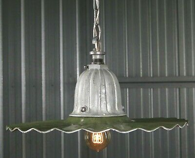 "RESTORED vtg 30s GE STREET LIGHT 20"" green porcelain industrial hanging antique"