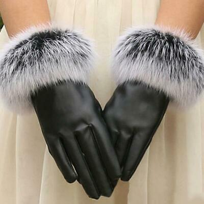 Womens Ladies Girls Pu Leather Gloves Lined Fur Thinsulate Winter Warm Gift Ja