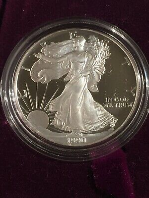 1990 American Eagle $1 Dollar Coin - 99.9% Silver Proof (w/Case, Box and COA)