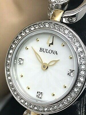 Bulova Women's Quartz Crystal Accents Two Tone 24mm Watch and Pendant 98X120