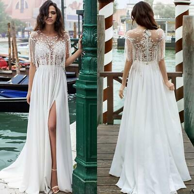 06d68b4ae8cf Summer Beach Split Wedding Dress Lace Chiffon A Line Bridal Gown Custom 6 8  10+