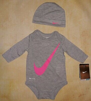 c3ce00898 Jordan Baby Girl 0-3M 0 3 Month Gray Long Sleeve Bodysuit Hat Outfit Set