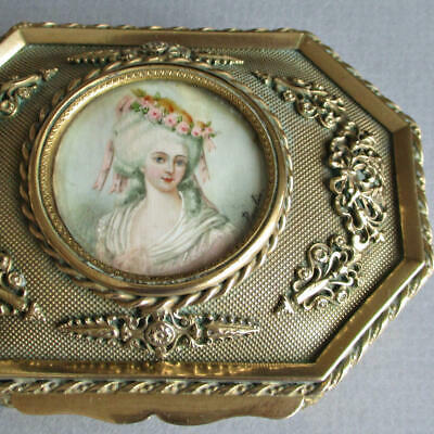 Antique FRENCH GILT Dore BRONZE Casket HP Miniature Portrait * Princess Lamballe