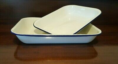 2 Enamel Ware Large Roasting Bakers Blue And White 34cms and 28cms VGC
