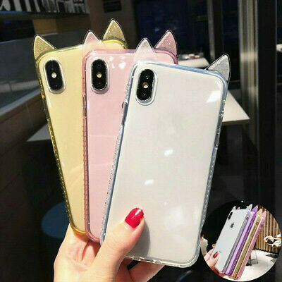 21f5a497be Cute cat Ears Diamond Bumper Clear Silicone Case Cover For iPhone XR XS MAX  7 8