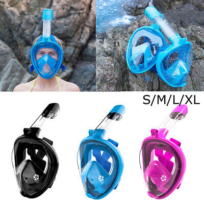 Anti-Fog Flat/ Curved Full Face Mask Swimming Breath Diving Goggle Snorkel Scuba