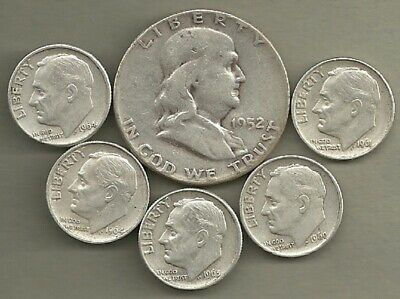 Franklin Half Dollar & Roosevelt Dimes- 90% Silver- US Coin Lot - 6 Coins #4133