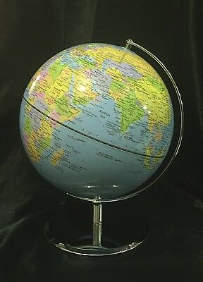 Light Blue World Ocean Globe 30cm  Metal Arm & Base Brand New
