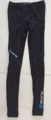 Skins Coldblack Black/Blue Youths Long Tights Size YL