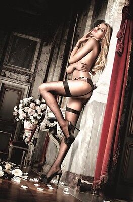 BACI Lingerie Black Sheer Dot Thigh High Stockings + FREE POSTAGE