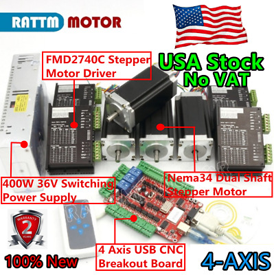 【IN USA】4 AXIS USBCNC Nema23 Stepper Motor 112mm 425oz-in &4A 40V on