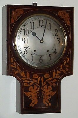 Antique Working 1840s Victorian Inlaid Angel Cherubs French Regulator Wall Clock