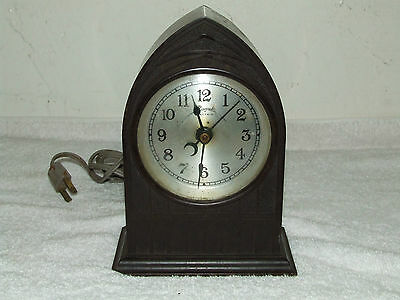 """Antique 1920's Gothic Cathedral """"Spin Start"""" Bakelite Clock ROYAL ELECTRIC CO"""