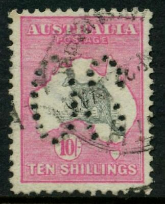 25% OFF! Kangaroo 1st Wmk Large OS 10/- Pink & Grey Used SG O13 7B5