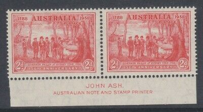 1937 150th Anniv. Of Foundation of NSW 2d Red *IMPRINT PAIR* MUH SG 193 584