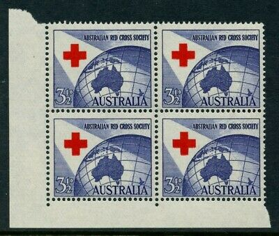 1963 Cent. Red Cross 5d Red on Blue *BLOCK OF 4* MUH SG 351 6E9
