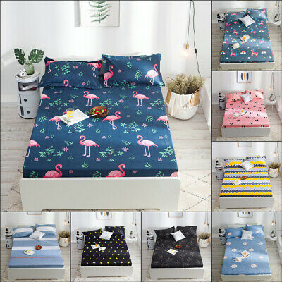 Waterproof Mattress Pad Protector Bed Fitted Sheet Cover With 2Pcs Pillowcase