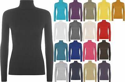 New Ladies Ribbed Plain Turtle Neck Soft Stretch Polo Top Womens Jumper 8 - 14