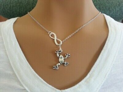 Infinity and Frog Lariat Necklace Handmade Jewelry jewelry gift for mom