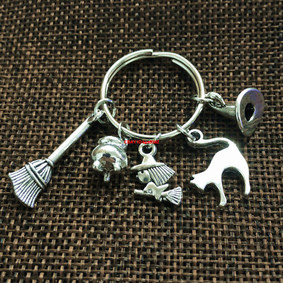 Witchy Keyring, Witch Jewellery, Witch hat Charms, Pagan, Gothic, Witch Gift