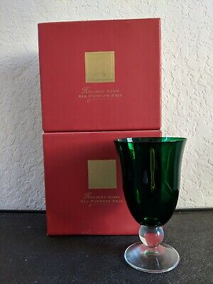 Lenox Holiday Gems Emerald Green All Purpose Wine Glass Goblet Set of 4 with Box