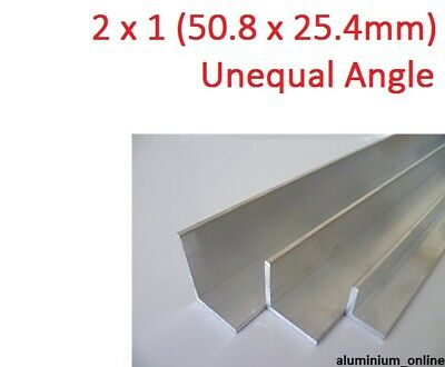 ALUMINIUM UNEQUAL ANGLE 2 x 1, 4 thickness, lengths 100mm to 2.500mm