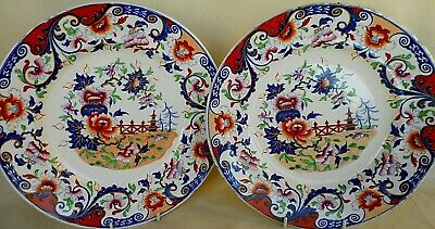 Pair Of 19Th Century Real Ironstone China Plates    - Pagoda , Fence And Vase