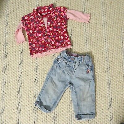NEXT baby girls outfit jeans and top 6-9 months long sleeve tee denim casual vgc