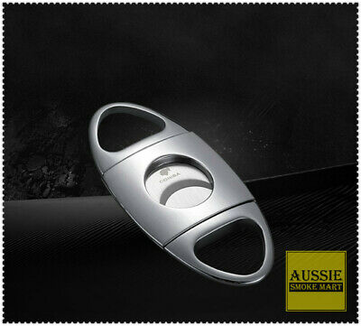 Cohiba SILVER Premium Stainless Steel Double Blade Guillotine Cigar Cutter