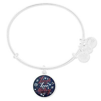Alex and Ani Disney Parks Laugh Love and Mickey Bangle Bracelet Silver NEW